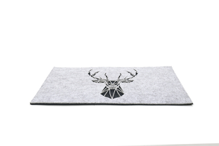 Best seller heat insulation dining felt table mat with antle pattern dark gray